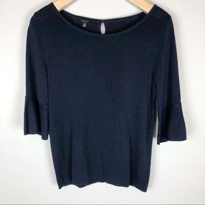 Talbots Ruffle Sleeve Navy Sweater Size M